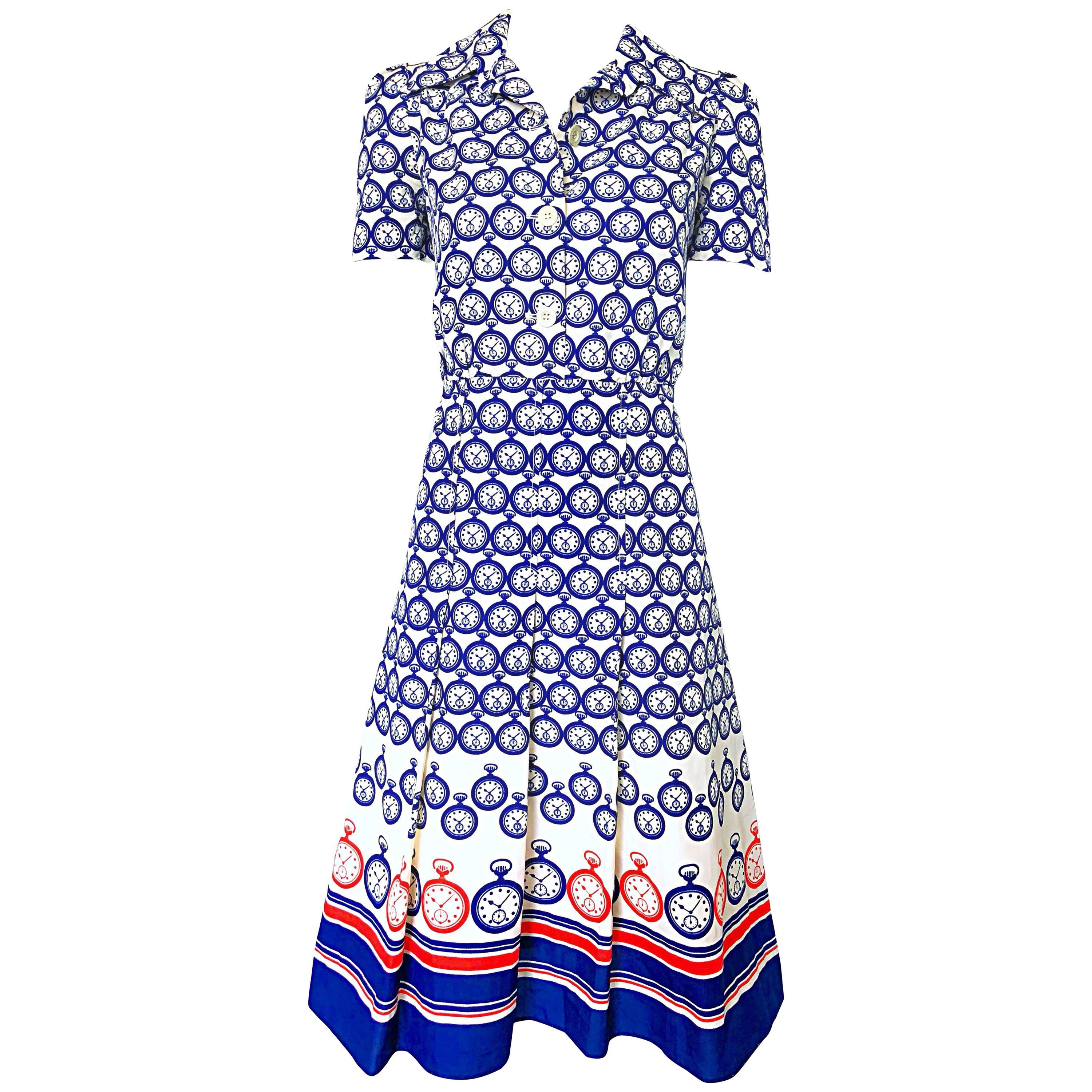 Chic 1950s Pocket Watch Novelty Print Red White and Blue Silk 50s Shirt Dress
