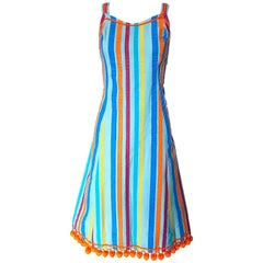 Whimsical 1960s Toby Tanner Colorful Striped ' Pom Pom ' Cotton 60s A Line Dress
