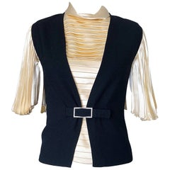 Cardinali 1960s Original Sample Ivory Silk Blouse + Black Rhinestone Waistcoat