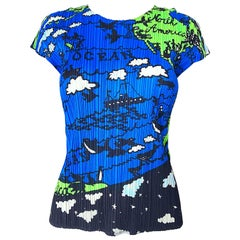 Vintage Issey Miyake 1990s Rare ' Map of the World ' 90s Short Sleeve Blouse