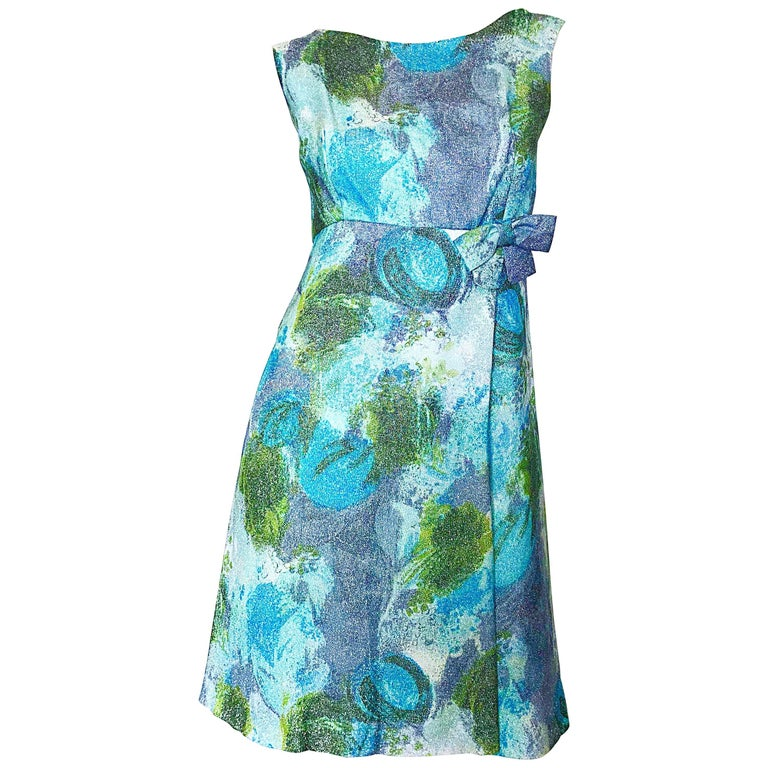 Holt Renfrew 1960s Silk Lurex Blue + Green Metallic Watercolor 60s A Line Dress