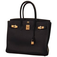 Hermes 35 Togo leather in black with Gold Hardware Birkin Bag