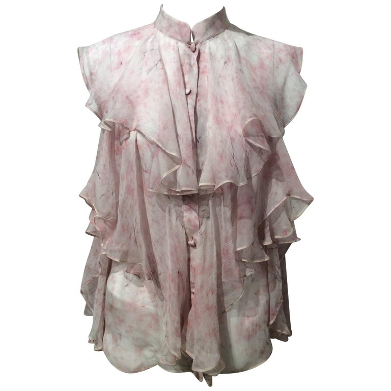 Alexander McQueen Pink And White Sleeveless Chiffon Top