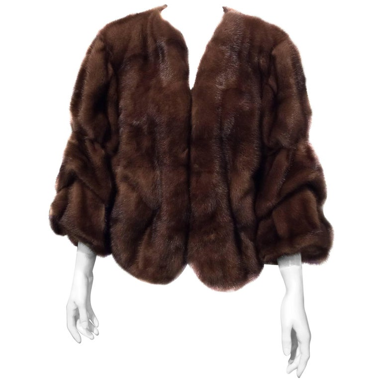 Lanvin Brown Collarless Mink Jacket With Tiered Full Sleeves Sz40 (Us8)