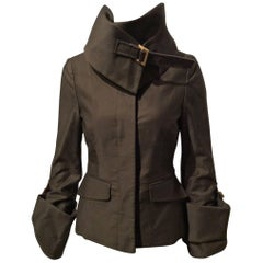 Gucci Brown Jacket With High Foldover Collar And Cuffs