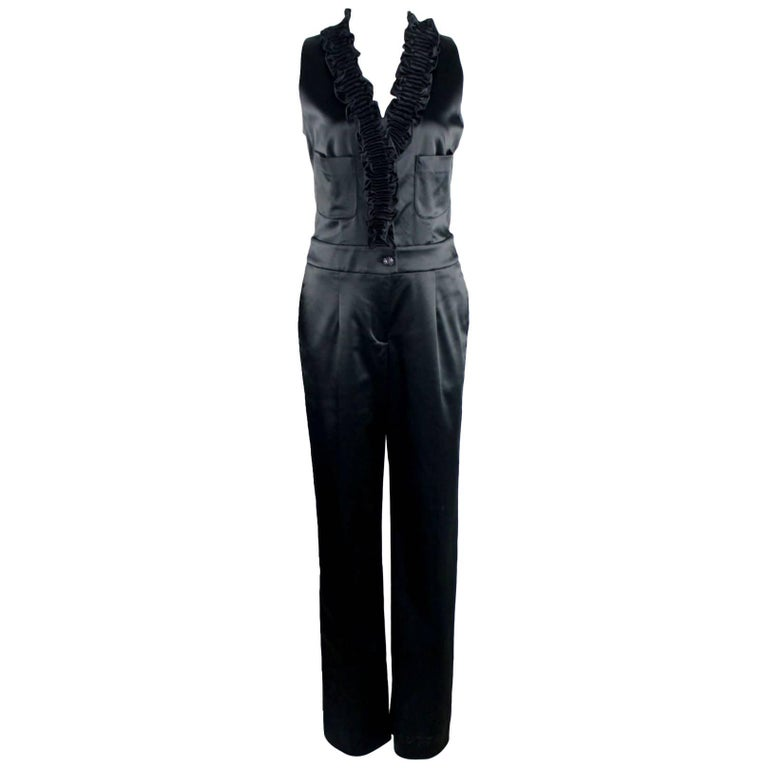 Chanel Black Ruched Evening Tuxedo Smoking Style Jumpsuit Overall