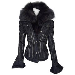 2000s Gianfranco Ferrè Silver Fox Fur Collar Jacket