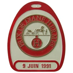 Hermès Stirrup Shaped Prix De Diane Aluminium Sign Plaque Japan, 1991