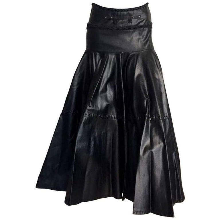 1990s Gianfranco Ferrè Black Eco Leather Evening Long Skirts
