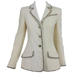 Chanel cream boucle metallic trimmed blazer