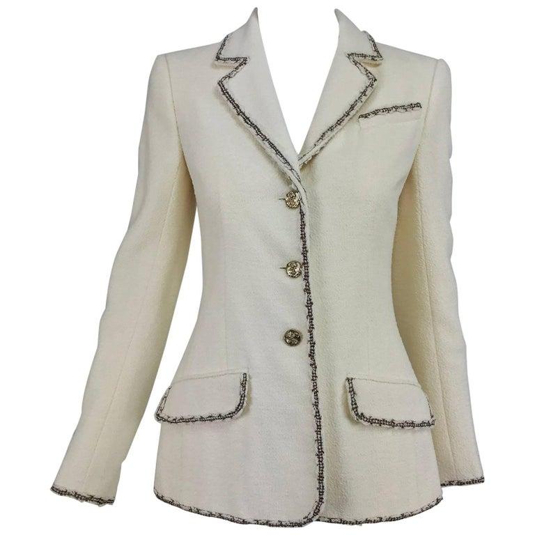 Chanel cream boucle metallic trimmed blazer