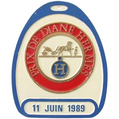 Hermès Stirrup Shaped Prix De Diane 1989 Aluminium Sign Plaque France