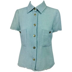 Chanel blue wool crepe short sleeve jacket 08C