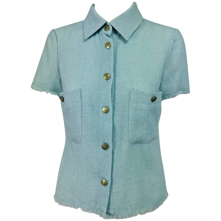 Chanel blue wool crepe short sleeve jacket 08C