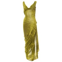 John Galliano Rare Alligator Print Green Bias Cut Vintage Backless Dress