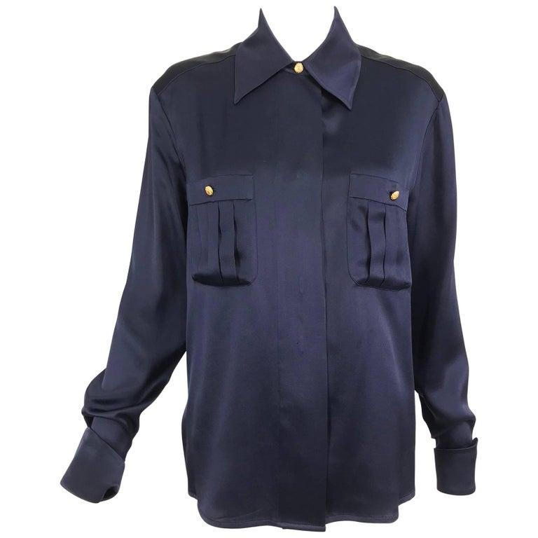 Chanel dark blue silk satin blouse