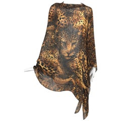 Yves Saint Laurent large leopard silk chiffon shawl scarf