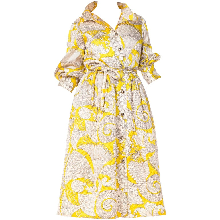 1960s Quilted Printed Coat Dress