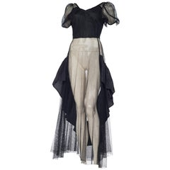 1930S Black Rayon Net Balloon Sleeve Gown With Taffeta Ruffles