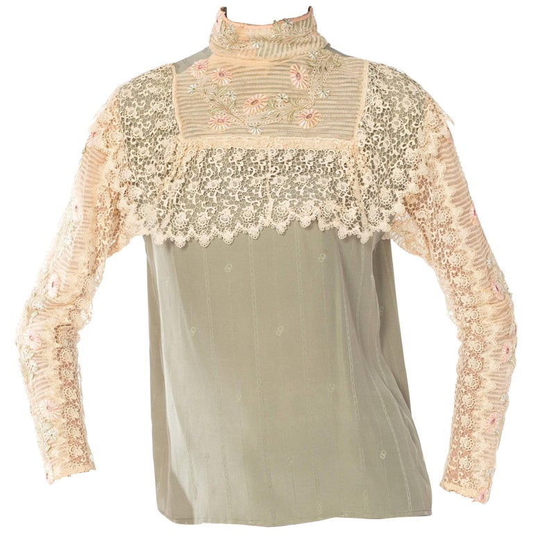Gucci Silk Blouse with Victorian Lace Trim, 1970s