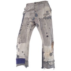 1930s French Workwear Heavily Distressed Patchwork & Embroidered Pants