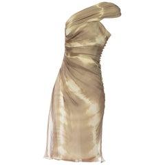 2000S JOHN GALLIANO CHRISTIAN DIOR Olive Green Silk Chiffon Tie Dyed And Draped