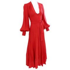 Ossie Clark Long Red Open Back Wrap Tie Belt Original Cuddle Dress, 1970s