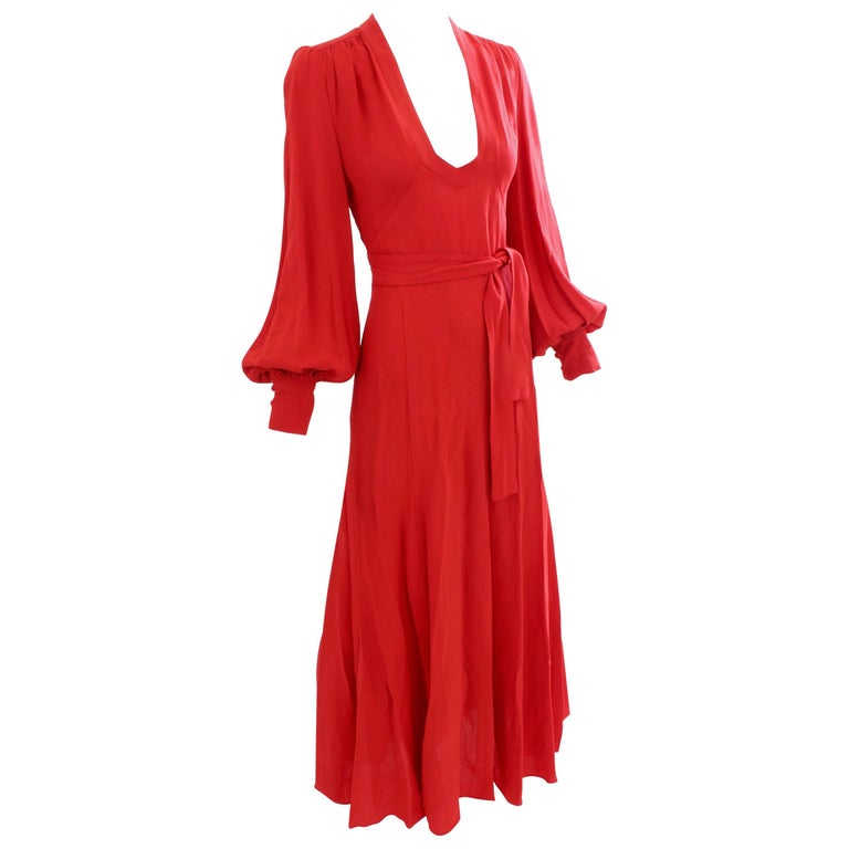 Ossie Clark Long Red Open Back Wrap Tie Belt Original Cuddle Dress, 1970s
