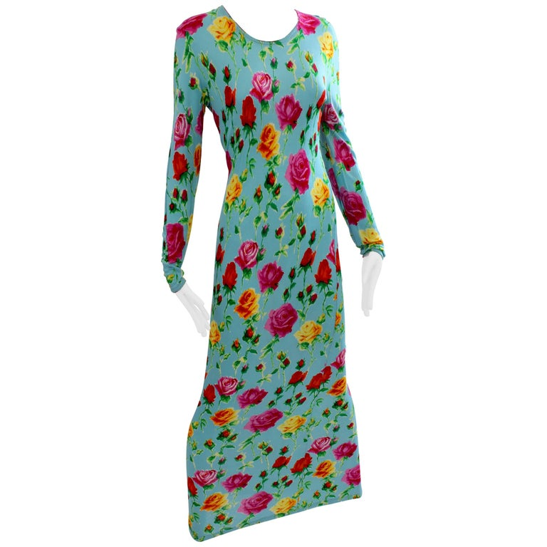 Versace Couture Long Fitted Bold Turquoise Floral Print Dress, 1995 Archive