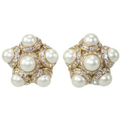 Faux Pearl and Rhinestone Vintage Clip On Earrings