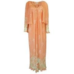 Bill Tice Peach Print Halter Dress and Jacket Pleat Set, 1970s