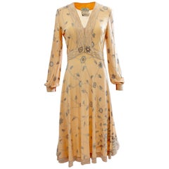 Emilio Pucci Peach Floral Graphic Print Silk Jersey Dress, 1960s