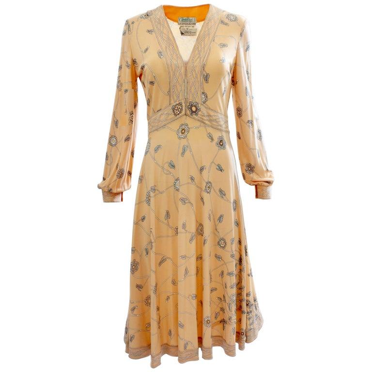 Emilio Pucci Peach Floral Graphic Print Silk Jersey Dress, 1960s