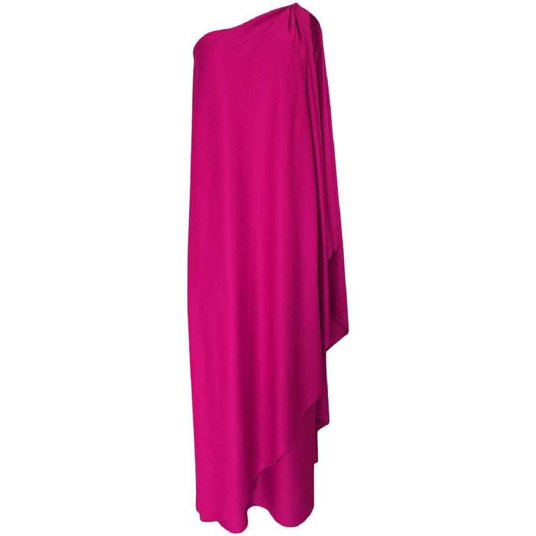 1978 Halston Pink One Shoulder Draped Jersey Dress