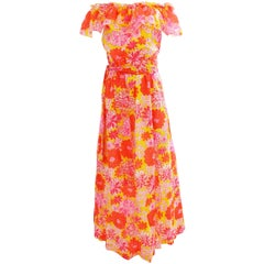 Lilly Pulitzer Floral Maxi Dress with Off Shoulder Ruffle Trim and Sash, 1970s