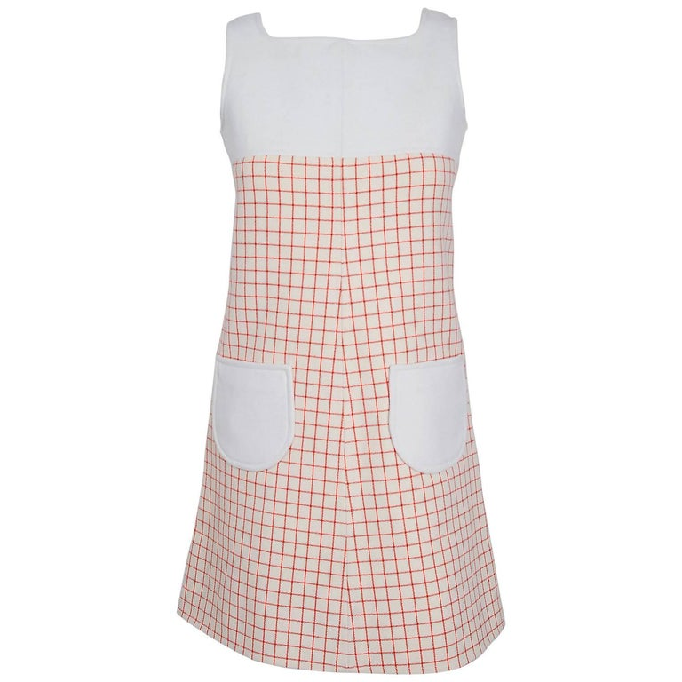1967 Courreges Couture Ivory & Red Checkered Wool Mod Space-Age Mini Dress