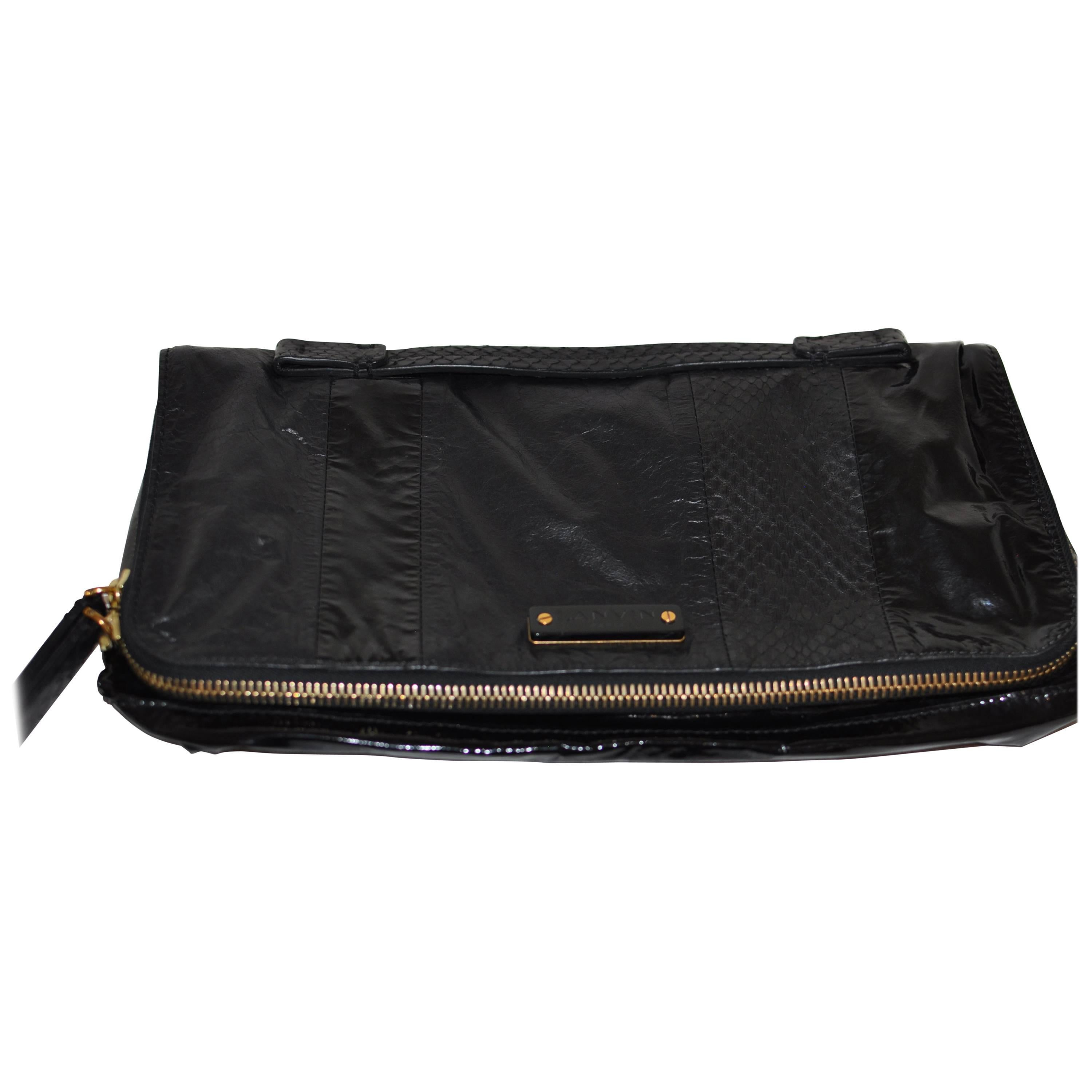 Alber Elbaz Lanvin Black Patent Leather And Reptile Foldover Flap Clutch With Dust Bag 41402 cjIjciSWS