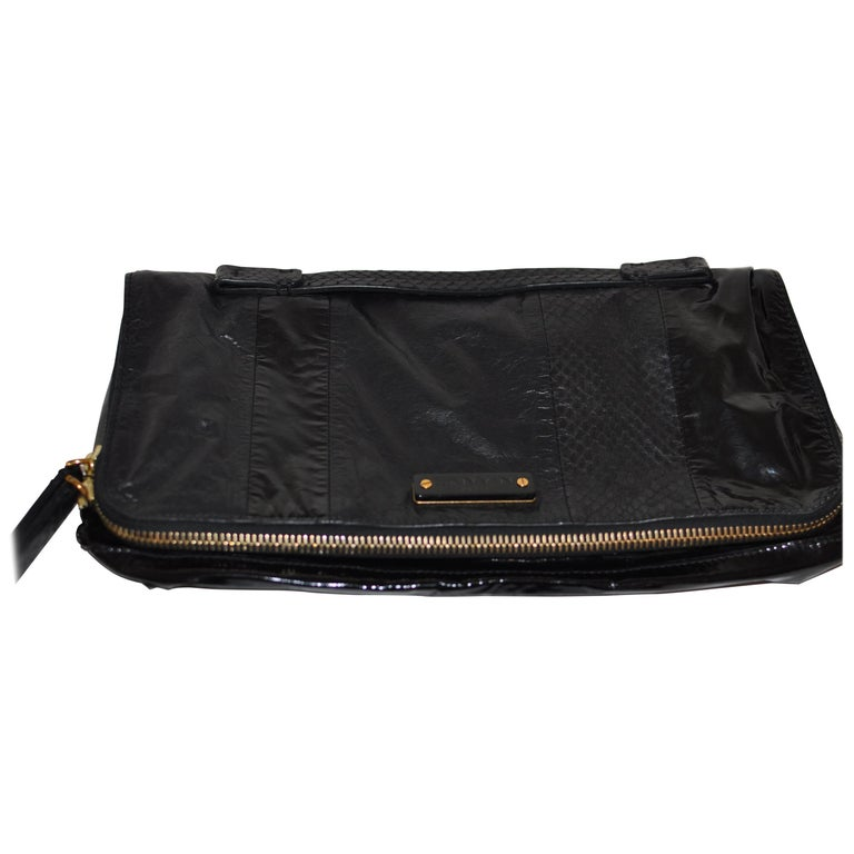 Lanvin Black Patent Leather and Reptile Foldover Flap Clutch with Dust Bag 41402