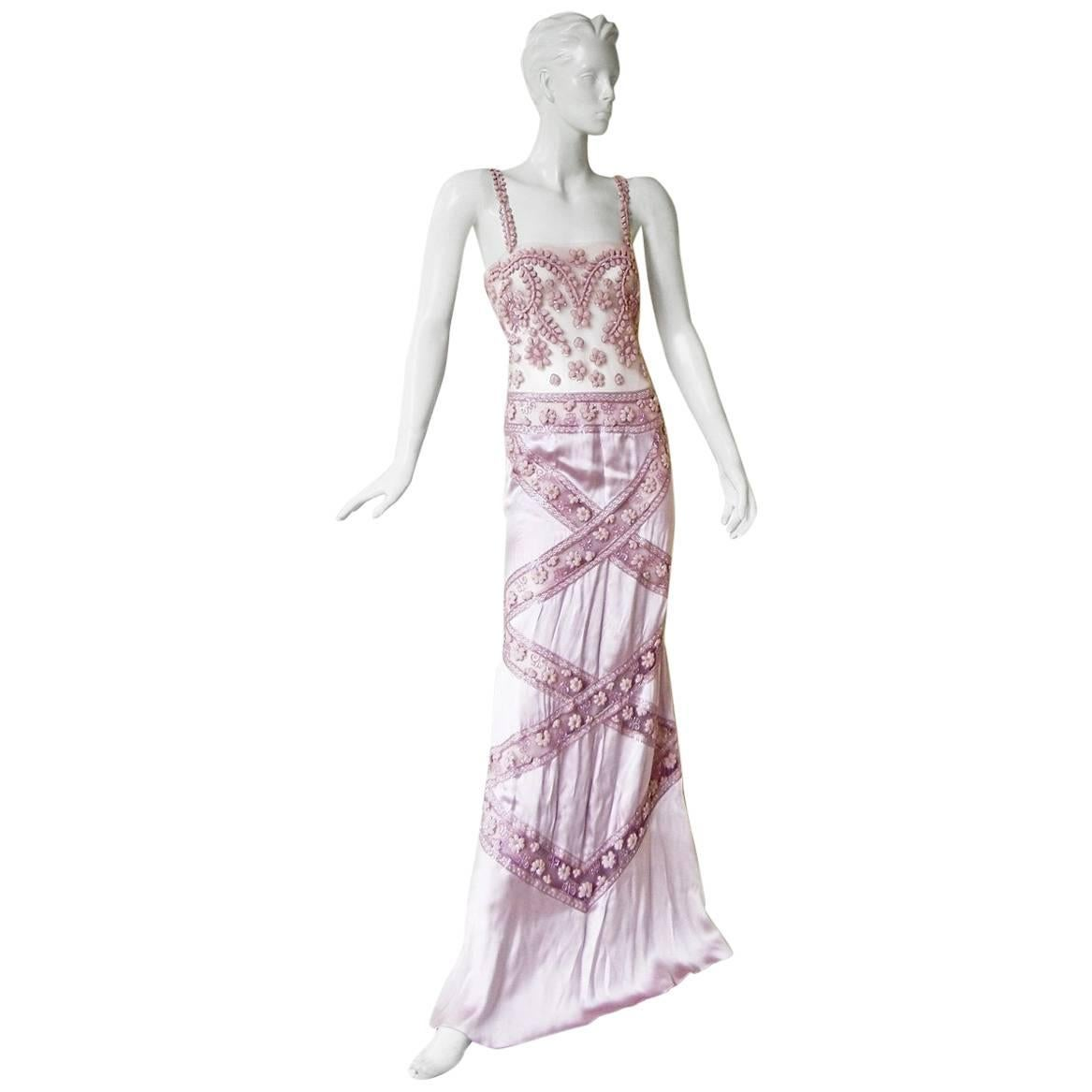 Valentino Hand Embroidered Lilac Runway Evening Gown Dress   New!