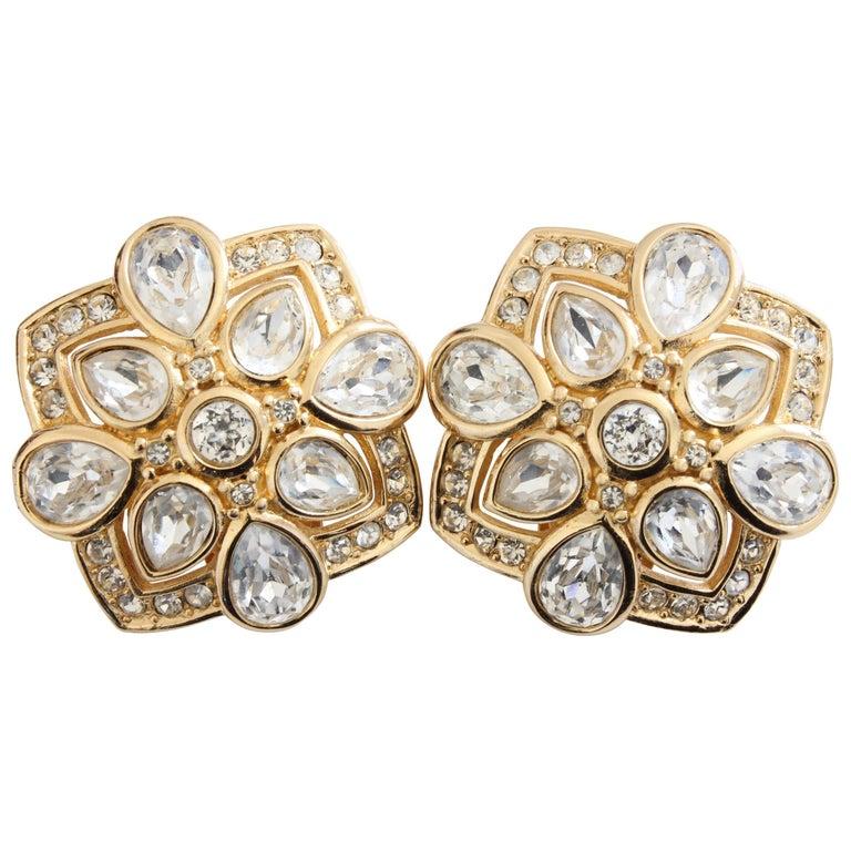 7771fd18e Christian Dior Earrings Gold Pear Shaped Rhinestones Clip Style For Sale