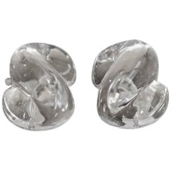 Patricia Von Musulin Lucite and Sterling Silver S Clip Earrings