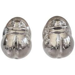 Patricia von Musulin Sterling Silver Scarab Clip Earrings