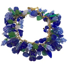 Czechoslovakian 1940s Floral Leaf Glass Charms Necklace Pididdily Links 1960s