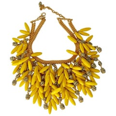 Francoise Montague Yellow Glass Bead and Swarovski Crystal Statement Necklace