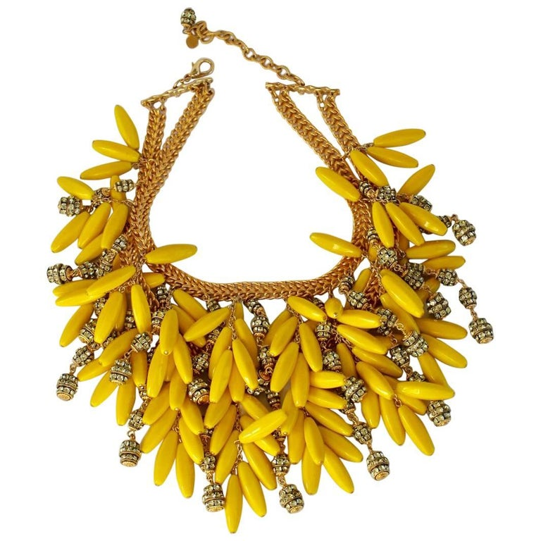 Francoise Montague Yellow Glass Bead and Swarovski Crystal Statement Necklace For Sale