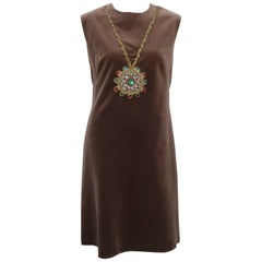 1960's Italian Brown Velveteen Dress With Trompe L'oeil Necklace