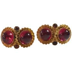 William DeLillo 1960s Fuschia Cabochon Goldtone Clip On Earrings