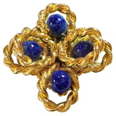 1960's William DeLillo Faux Lapis Goldtone Fits EVERYONE Cocktail Ring