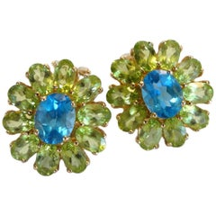 Blue Topaz & Green Peridot Flower Earrings 14k