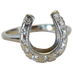 14karat White Gold Horseshoe Ring with Diamonds